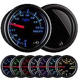 GlowShift Tinted 7 Color Volt Voltmeter Gauge - Voltage Range 8 - 18 Volts - Black Dial - Smoked Lens - 2-1/16' 52mm