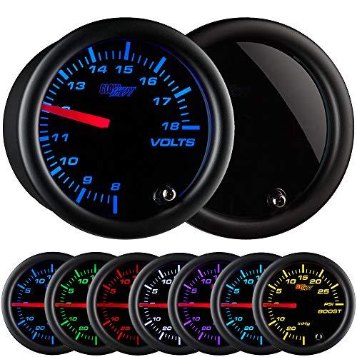 GlowShift Tinted 7 Color Volt Voltmeter Gauge - Voltage Range 8 - 18 Volts - Black Dial - Smoked Lens - 2-1/16 52mm