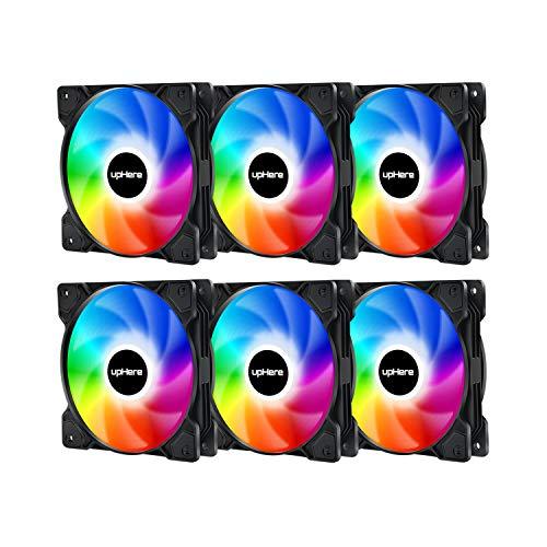 upHere 120mm - RGB LED Ventilador de PC - Ventilador para Ordenador con Control Remoto, Paquete de 6(SR12-06-6)