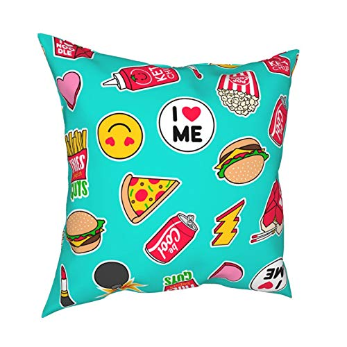 Throw Pillowcase Pillow Covers 18x18 Inch Fashion Girl Fashion Patch Fast Food Icon decoration for Home Decor Office Sofa Holiday Bar Coffee Wedding Car