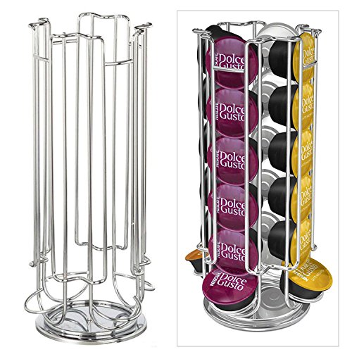 Revolving Rotating 24 Capsule Coffee Pod Holder Tower Stand Rack for Dolce Gusto by Top Home Solutions