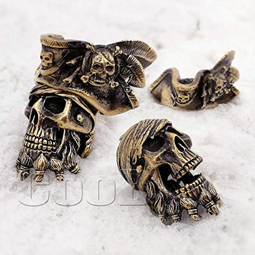 Author's EDC Bead Charm Necklace Pendant Bead * Zombie Pirate Skull Jack Sparrow * for Bracelet Paracord KeyChain Knife Lanyard