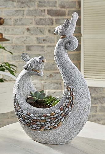 Dekoleidenschaft Design Pflanzer Vogelpaar in Stein-Optik, grau, Pflanzschale, Gartendeko, Blumentopf, Pflanztopf
