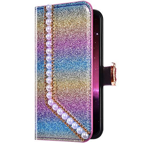 Uposao Compatibile con Samsung Galaxy S10 5G Brillante Glitter Perla Amore Cuore Portafoglio in Pelle PU Cuoio Caso Carte di Slot Cover Protettiva,Rosa Verde