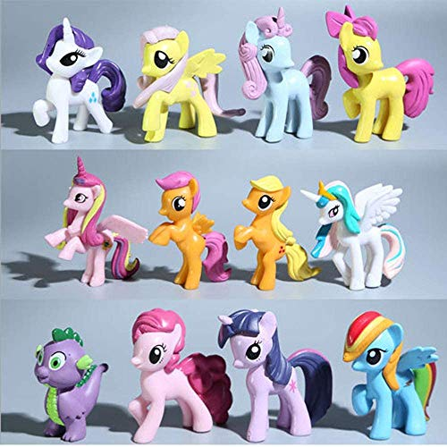 My Little Pony 12 Pony Toys, Mini Dolls, Cake Topper,Play Dolls for Little Girls,Cake Decoration. (Style 2)