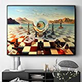 LLXXD Surreal City Chess Beach Set Wall Art Canvas Painting Poster Imprime imágenes para la decoración de la Sala de Estar Pinturas para el hogar Decor-60x90cm (sin Marco)