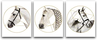 """HPNIUB Modern Geometry White Horse Art Print Set of 3 (8""""X10"""") Abstract Horse Head Portrait Painting Animal Canvas Wall Art Decor for Living Room Or Office, No Frame"""