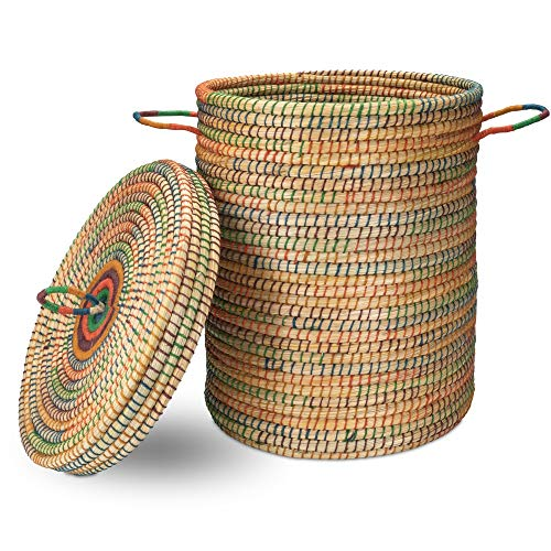 Gruener Handel - Kollektion Dhaka - Wäschekorb mit Deckel Ø 40cm - Handarbeit - Fair Trade