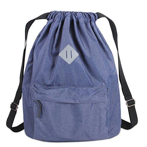 Luxja ナップサック ジムバッグ 水筒入れ付き A4 撥水加工 登山 学校 通勤 旅行 メンズ レディース(紺)