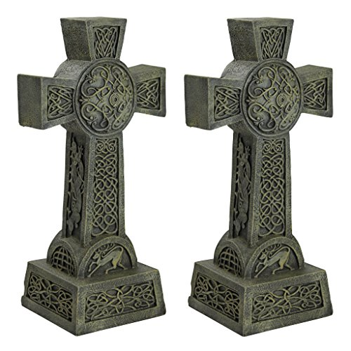 Design Toscano DB925692 Donegal Celtic High Set of Two-Irish Cross Memorial Statue, Set of 2