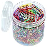 OKVGO 500 clips de papel de colores con caja de plástico de pinzas de papel para oficina de papelería de 33 mm, 20 colores multicolor