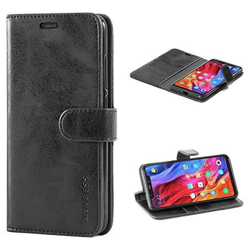 Mulbess Handyhülle für Xiaomi Mi 8 Hülle Leder, Xiaomi Mi 8 Handy Hüllen, Vintage Flip Handytasche Schutzhülle für Xiaomi Mi 8 Hülle, Schwarz