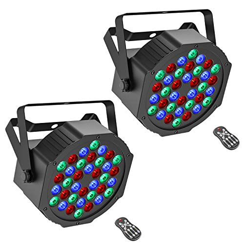Donner 2 Packs 36 LEDs DJ Par Lights, Stage RGB Strobe Lighting with Remote Control and DMX Control, for Dancing/Wedding/Church/Birthday Gift/Christmas Party/Music Live Show