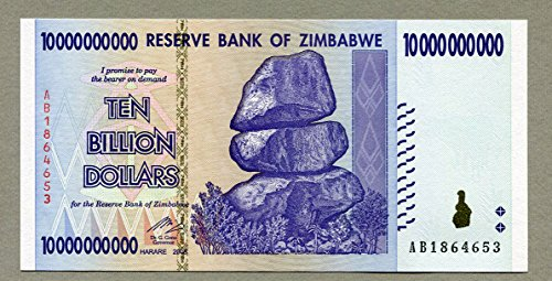 Simbabwe 10 Billion Dollar Banknote Bill Money Inflation Record Currency Note
