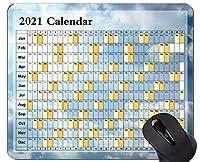 カレンダー2021年のパーソナライズされたマウスパッド、Blue Skyをテーマにした滑り止めのラバーベースマウスパッド