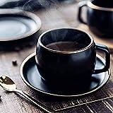 WQF Juego de Taza y platillo de café de cerámica de Estilo Moderno de 280 ml, Juego de Tazas de té de Porcelana pigmentada Reutilizable Negra para Restaurante Familiar