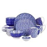 vancasso TAKAKI, Piatti Servizio 4 Persone Offerte Set 24 Pezzi Stile Giapponese Blu in Porcellana con Piatti da Dessert, Tazza da caffè, Piatti Piatto, Ciotole per Cereali, Piattini Antipasto