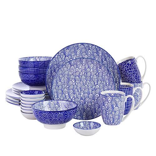 vancasso, série Takaki, Service de Table, 24 pièces, Couleur Bleu, pour 4 Personnes, en Porcelaine, Style Japonais
