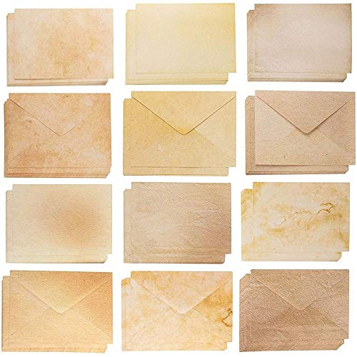 Blank Cards and Envelopes � 60 A7 Envelopes and 60 Blank Cardstock for Printing Invitation Cards, Postcards, Greeting Cards, Aged Style Vintage Designs, 5 x 7 Inches