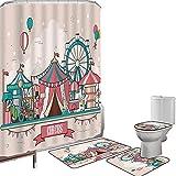 Juego de cortinas baño Accesorios baño alfombras Circo Alfombrilla baño Alfombra contorno Cubierta del inodoro Paisaje de las instalaciones de circo en globos de estilo de diseño plano Ilustración del