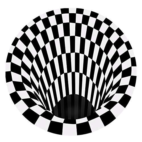 200 * 200 cm Große 3D Black White Plaid Runde Teppiche 3D Runde Teppiche Optische Illusion Schwarzer Loch Karierte Vortex Optische Illusionen Einfach zu reinigen, leicht zu reinigen