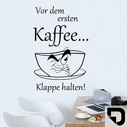 DESIGNSCAPE® Wandtattoo Vor dem ersten Kaffee... Klappe halten! - mit Kaffeetasse - 32 x 50 cm (Breite x Höhe) schwarz DW801250-S-F4