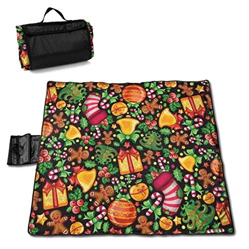 End Nazi Weihnachtsbaum Geschenke Glocken Stranddecke Picknickmatte Extra große wasserdichte Polstermatten Kompakte Einkaufstasche mit Riemen