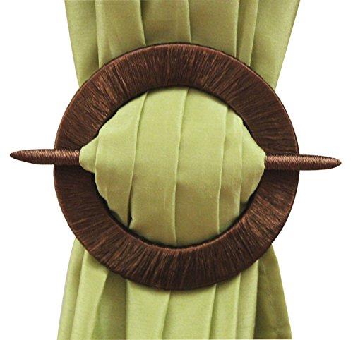 Threaded Decorative Curtain Holdbacks, Set of 2, Beige Black Gold Brown (Brown)