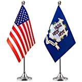 WEITBF Connecticut State Desk Flag Small Mini Connecticut Office Table Flag with Stand Base,2 Pack