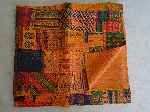 Tribal Asian Textiles Patchwork-Tagesdecke, Queen-Size-Kantha-Steppdecke, wendbar, florales Kantha-Überwurf.