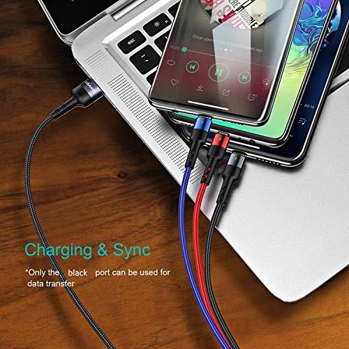 USAMS Multi USB Kabel, 3 in 1 Handy Ladekabel Auto 60cm ziehen bis 1.5M, Phone+USB C+Micro USB Dreifach Universal für Samsung Galaxy S10 S9 S8 S7 Huawei P30 P20 Xiaomi alle Smartphones