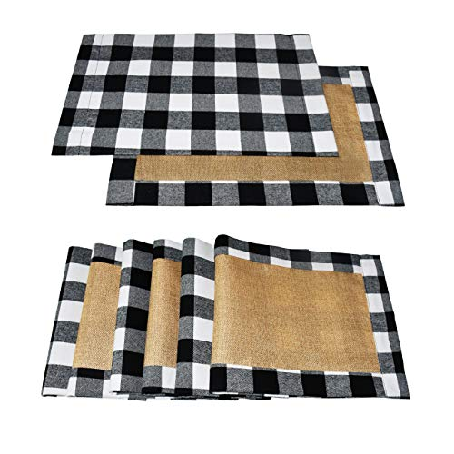 Senneny Set of 6 Christmas Placemats Buffalo Check Placemats Black White Plaid Reversible Burlap & Cotton Placemats for Christmas Holiday Table Home Decoration (Black and White)