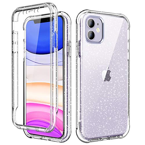 SKYLMW iPhone 11 Case 2019 6.1 inch,[Built in Screen Protector] Sparkly Bling Cover Full Body Shockproof Protective Hard Plastic TPU Phone Cases with Fashion Design for Women Girl,Clear/Silver Glitter