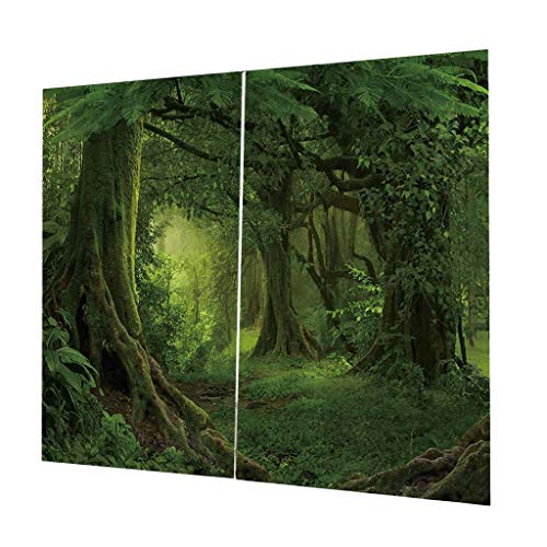 Homyl 2pcs Verdunkelungsvorhang Kräuselband Gardinen Vorhang Duschvorhang, Größe 170x200cm - Wald