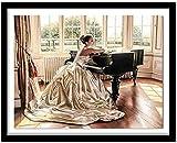 Kits de punto de cruz contados -Niña tocando el piano 30x40cm- Kit de bordado a mano con patrón de punto de cruz Diy Kit de bordado impreso Set decoración del hogar