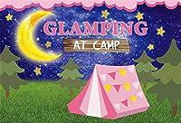 新しい7x5フィートの月と星の背景グランピングナイトアウトドアキャンプ写真の背景子供誕生日バナー新生児幼児赤ちゃん幼児の写真プリックスクールイベントフォトブース小道具デジタル壁紙