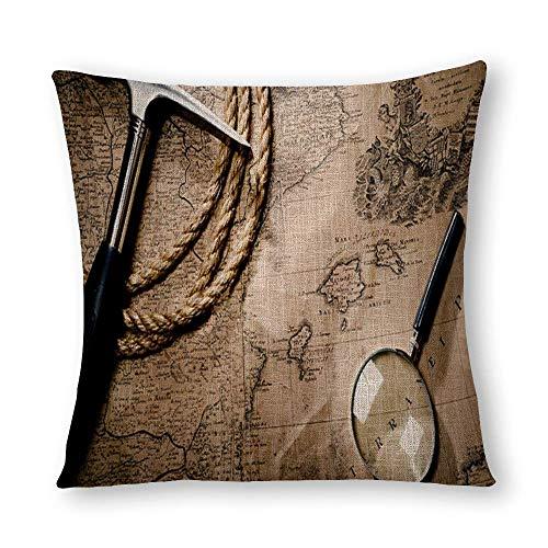 Funda de almohada con diseño de mapa de esquina del mundo