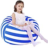 Lukeight Stuffed Animal Storage Bean Bag Chair Cover for Kids and Adults, Storage Bean Bag with Zipper for Organizing Kids Stuffed Animals, Bean Bag Cover (No Beans), Large/Blue Stripe