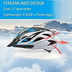 SUNRIMOON Bike Helmet for Adult Men Women, Bicycle Helmet with Detachable Visor, Lightweight Road Cycling Helmet Adjustable Size (L) 22-24 inches