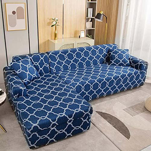 Funda de sofá antideslizante impresa en forma de L, duradera y elástica seccional de poliéster suave con protector de muebles inferior elástico (Patten # M, 4 plazas)