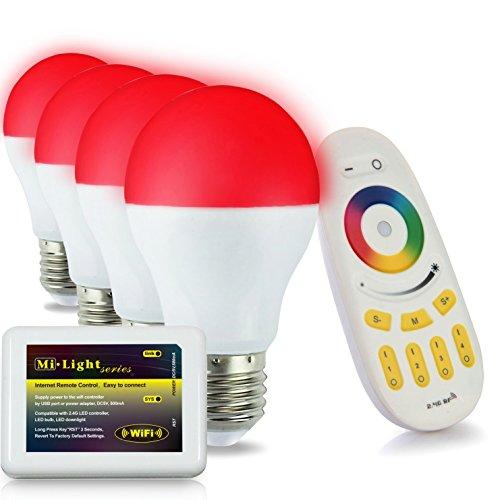 Lighteu, 4 x Lampe LED WiFi Colorée RVB plus blanc chaud Milight Original ®, 6W, E27, à intensité variable avec 1 x Télécommande sans fil et 1 x Contrôleur RF 2.4G via iPhone/android [Classe énergétique A+]