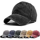 Aedvoouer Men Women Baseball Cap Vintage Cotton Washed Distressed Hats Twill Plain Adjustable Dad-Hat (Black/4)