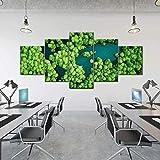 Laimi Mapa del mundo Rainforest Lake Canvas Art Wall Art 5 piezas de arte abstracto moderno para pared con marco ilustraciones en lienzo para decoración de oficina en casa