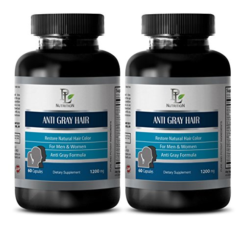 Gray Hair Pills - Anti Gray Hair Natural Complex 1200mg - Anti Aging Hair - 2 Bottles 120 Capsules