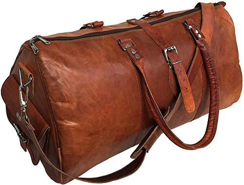 pranjals house Leather Travel Duffle Bag Gym Overnight Weekend Luggage for Boys, Men and Women (Brown, 22 Inch)