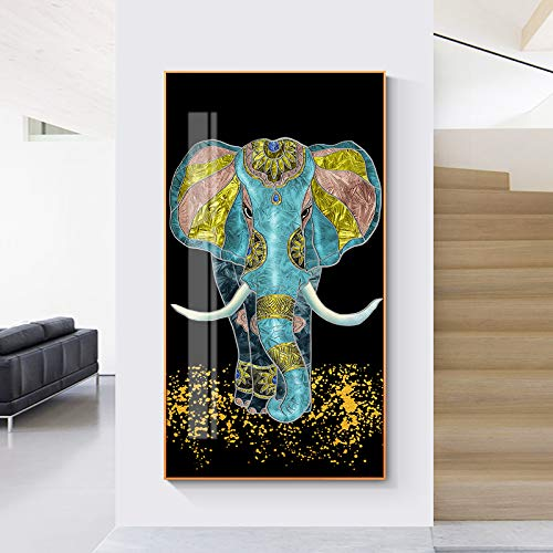 N / A Rahmenlose Malerei Neue Pferde- und Elefantenölmalerei Modestil und Wohnzimmer Leinwand Wandbild Wohnkultur Wandbild ZGQ7528 30X60cm