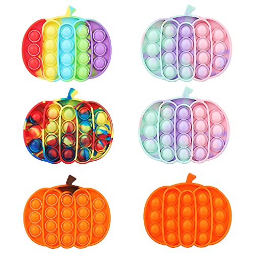 Flipcase 6 Pack Colorful Pumpkin Pop Fidget Toys, Push Popping Popper Cheap Silicone Stress Anxiety Relief Squeeze Toys