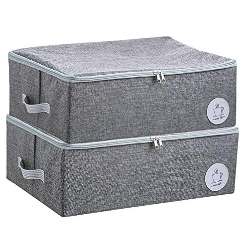 HDSFD - Scatola portaoggetti per vestiti, pieghevole, salvaspazio, doppia cerniera, borsa portaoggetti con doppio manico, per riporre vestiti e piumini, 2 pezzi, colore: grigio