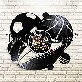 FDGFDG Reloj de Pared Retro Hecho a Mano Bolas Arte de Pared Reloj de Pared con Registro de Vinilo Reloj de Pared Exclusivo Reloj de Tiempo Decorativo