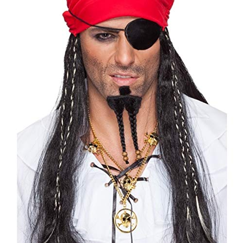 Captain Jack Beard, chinbeard long With Brown Pearls, Black (Accessoire de Costume)